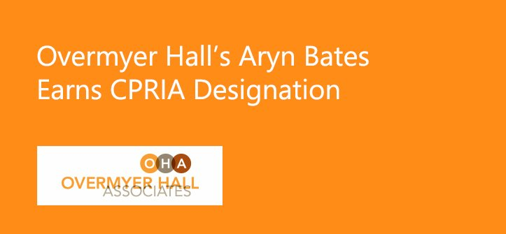 Overmyer Hall's Aryn Bates Earns Designation